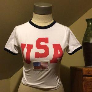 USA cropped crew neck
